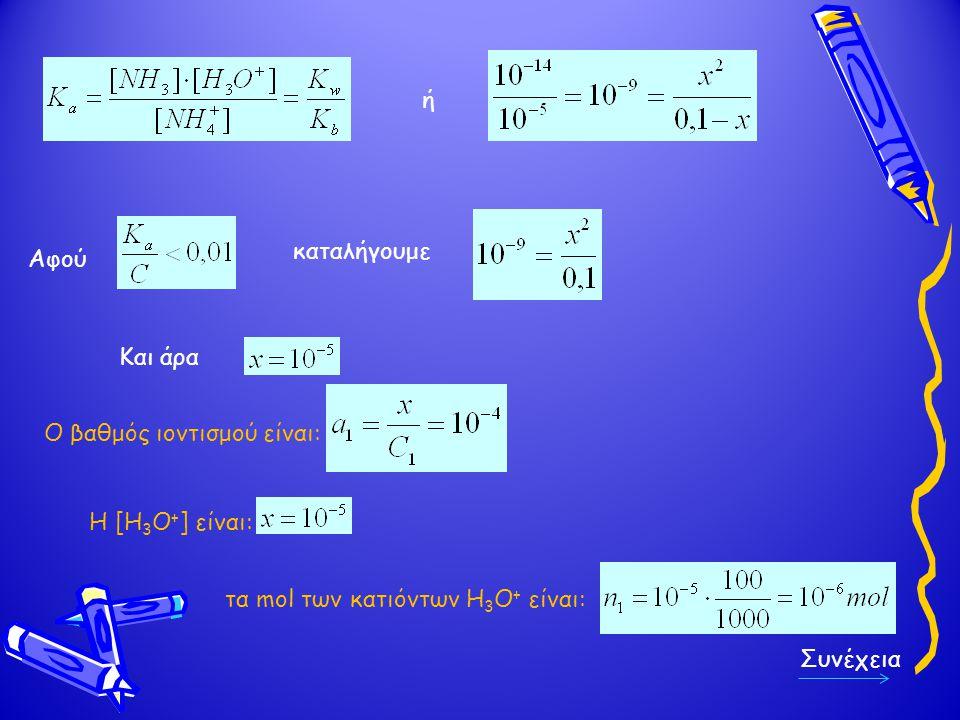 ή καταλήγουμε. Αφού. Και άρα. Ο βαθμός ιοντισμού είναι: Η [Η3Ο+] είναι: τα mol των κατιόντων Η3Ο+ είναι: